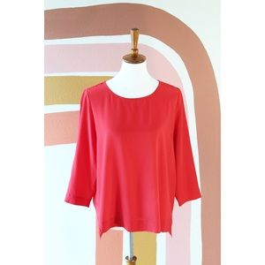 Madewell red silk blouse
